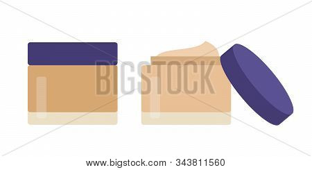 Makeup Tonal Foundation In Jars Vector Icon Flat Isolated Illustration