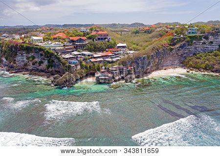 Aerial from Suluban beach in Uluwatu area on Bali Indonesia