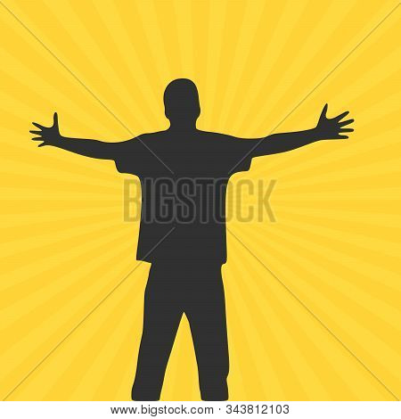 Men With Wide Open Hands With Palm Extended Silhouette. Stock Vector Illustration Isolated On Yellow