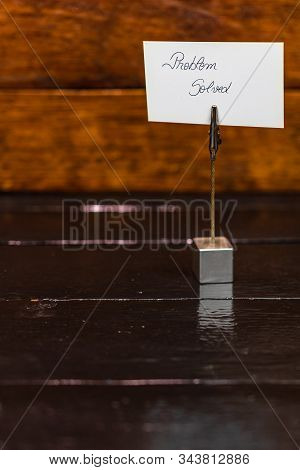 Square Memo Holder With Memo Post Reminder. Writing Problem Solved On Label. Bucharest, Romania, 202