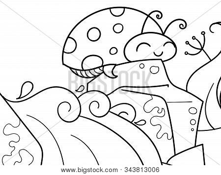 Coccinellidae. Children Coloring. Black Lines, White Background. Insect, Ladybug On A Stone. Vector