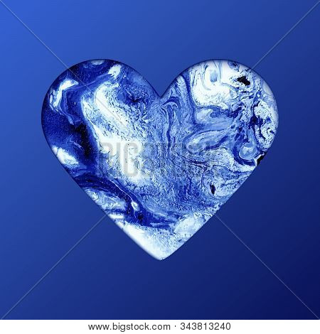 Heart Shape On Blue Background. Artistic Creative Painting, Paper Cut Realistic Style For Valentines