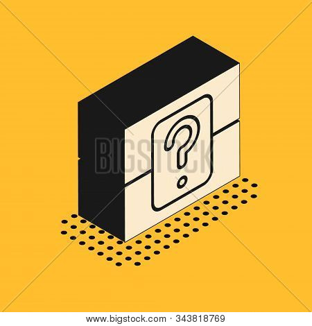 Isometric Mystery Box Or Random Loot Box For Games Icon Isolated On Yellow Background. Question Box.