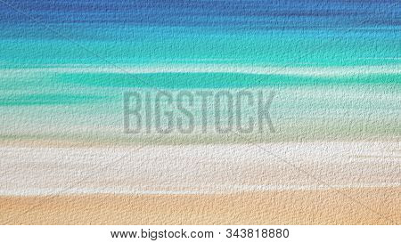 Watercolor Illustration Of Sand Beach And Sea. Artistic Natural Painting Abstract Background.