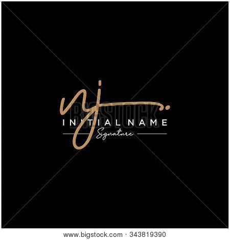 Letter Initial Nj Signature Logo Template Vector
