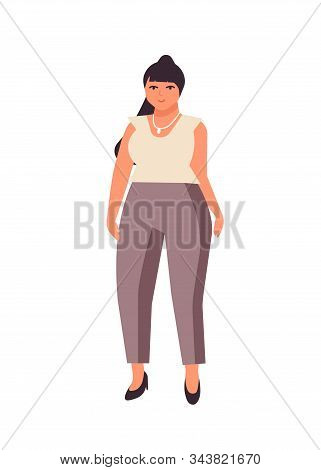 Curvy Dark Haired Woman Flat Vector Illustration. Plump Caucasian Girl Cartoon Character Wearing Whi