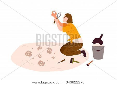 Archeology, Antiques Search Flat Vector Illustration. Archaeological And Geological Excavations, Sci