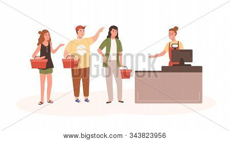 Angry People At Checkout Flat Vector Illustration. Indignant Customers Standing In Queue Cartoon Cha