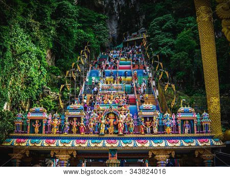 Gombak, Malaysia - January 4, 2020: New Look With Colorful Stair At Murugan Temple Batu Caves Become
