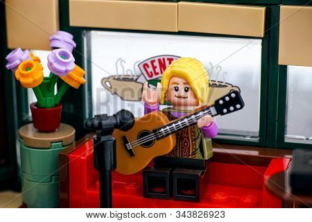 Tambov, Russian Federation - January 03, 2020 Lego Ideas Central Perk Set. Lego Phoebe Buffay Minifi