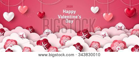 Happy Saint Valentines Day Card, Horizontal Banner With Paper Cut Clouds And Holiday Objects On Pink