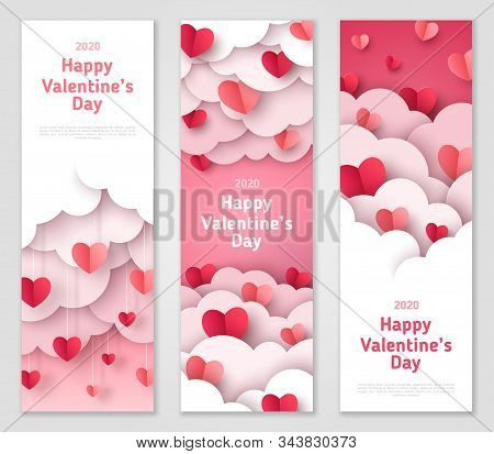 Happy Valentines Day Vertical Banners Set With Paper Cut Clouds And Hearts. Vector Illustration. Hol