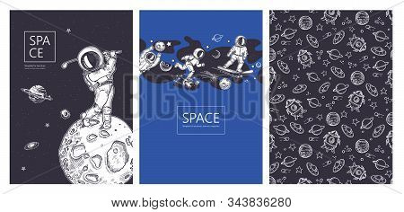 Set Of Space Banners. Astronaut Runs In Space. Astronaut With A Golf Club. Astronaut Rides On A Snow