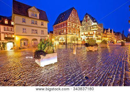 Rothenburg Ob Der Tauber. Main Square Or Marktplatz Or Market Square In Rothenburg Ob Der Tauber Eve