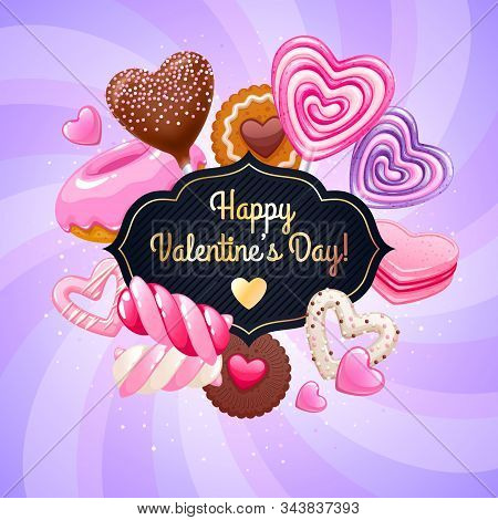 Valentines Day Candies And Sweets Colorful Background.