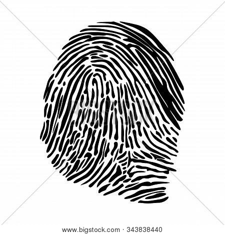 Realistic Fingerprint Isolated On A White Background. Fingerprint Icon. Black Fingerprint. Vector Fi