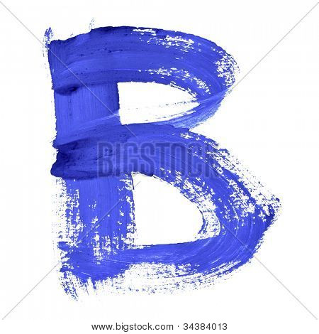 B - Blue handwritten letters over white background