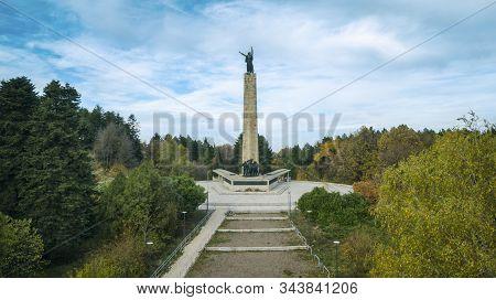 Aerial View Of Monument Of Sfrj Architecture In Woods. Fruska Gora Mountain Near Novi Sad.