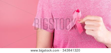 Breast Cancer Awareness Month, Pink Ribbon Supporting People Living And Illness. Healthcare, Interna
