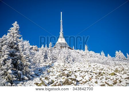 Winter View Of Mountain Top Hotel And Television Transmitter Jested, Liberec, Czech Republic