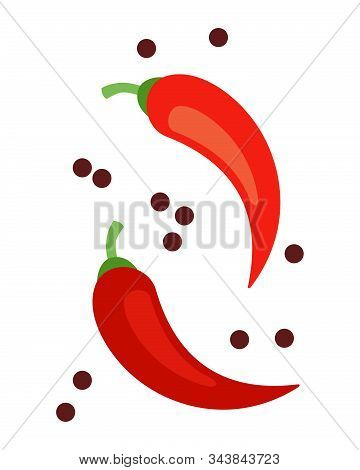 Chili Peppers With Black Peppercorns Vector Flat Isolated