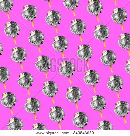 Modern Colorful Pattern Made Of Exclusive Design Of Icecream As A Discoball, Modern Background. Alte