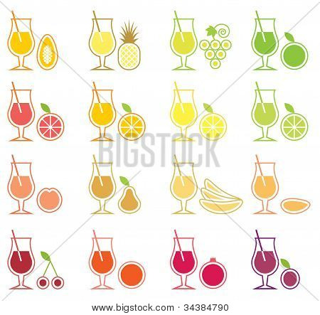 Fruit Juice Icon Set