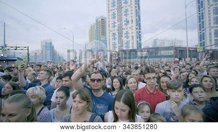 Yekaterinburg, Russia-august, 2019: Large Crowd Of People Gathered At Festive Concert In City. Art.