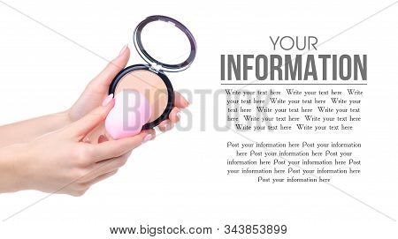 Make up sponge puff in hand powder on white background isolation, space for text poster
