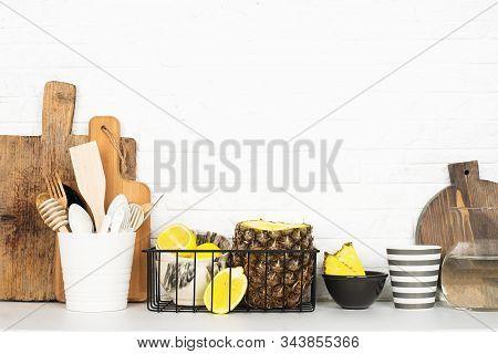 Kitchen Shelf Lifestyle White Background With Fresh Lemons, Pineapple, Kitchen Tools, Appliances, Ch