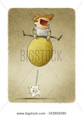 Illustration Of Smiling Boy Having Fun Jumping On A Hopper Ball