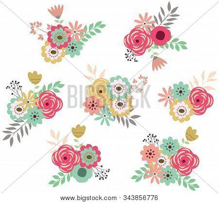 Vector Illustration Of Vintage Flowers Set. Vector Retro Flowers.