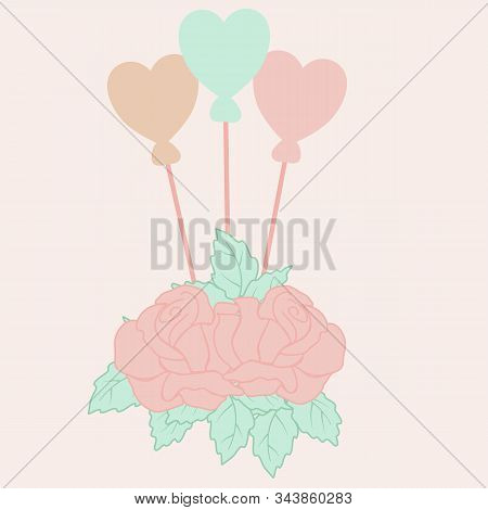 Vector Illustration With Roses And Hart Balloons