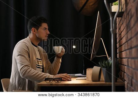 Journalist Working With Modern Computer In Office