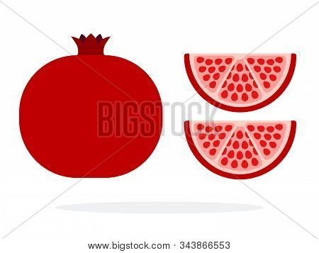 Whole Fruit Of Pomegranate And Two Pomegranate Wedges Flat Isolated