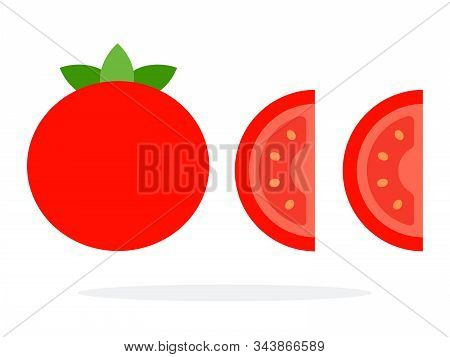 Whole Fruit Of The Tomato And Two Wedges Of Tomato Flat Isolated