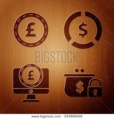 Set Closed Wallet With Lock, Coin Money With Pound Sterling Symbol, Computer Monitor With Pound Ster