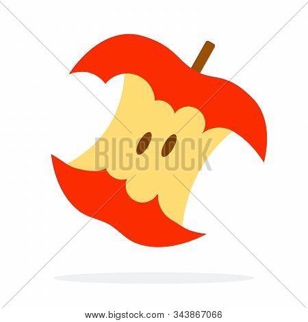 Stub Of A Red Apple Vector Flat Isolated