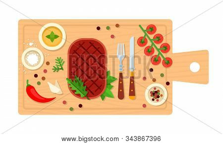 Beefsteak With Cutlery On A Board Vector Flat Isolated