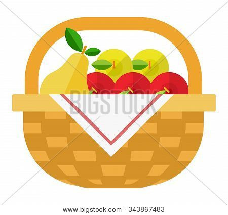 Fruit In A Wicker Basket Vector Flat Isolated