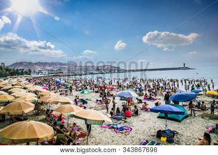 lima, Peru-Jan 11, 2019:Pacific coast view in sunny day, observation deck, stairway to the beach. View from the Public park in Miraflores district. Lima, Peru.