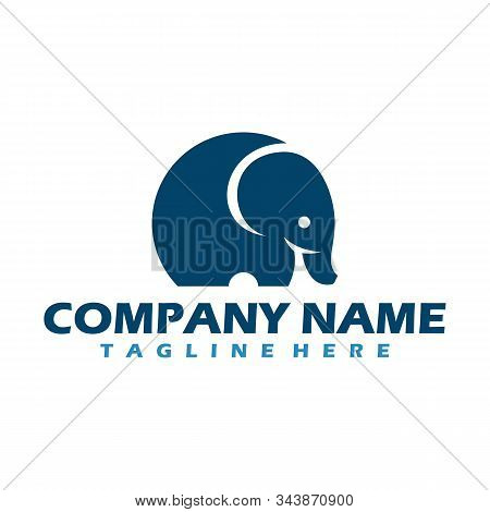 Baby Elephant Logo, Vector Logo Of A Baby Elephant With Flat Style, Simple And Cute Illustration Of