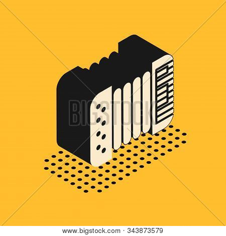 Isometric Musical instrument accordion icon isolated on yellow background. Classical bayan, harmonic. Vector Illustration poster