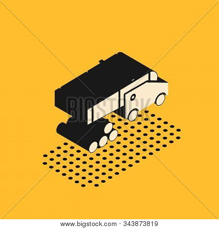 Isometric Cannon With Cannonballs Icon Isolated On Yellow Background. Medieval Weapons. Vector Illus