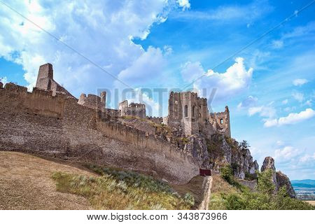 Slovakia Beautiful View Of The Ruined Castle Beckov Castle.slovakia Castle Beckov - Panorama