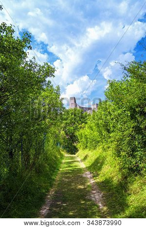 The Path Leading The Old Castle Beckov. The Old Castle Of Slovakia Beckov.beckov Castle Ruins, Slova