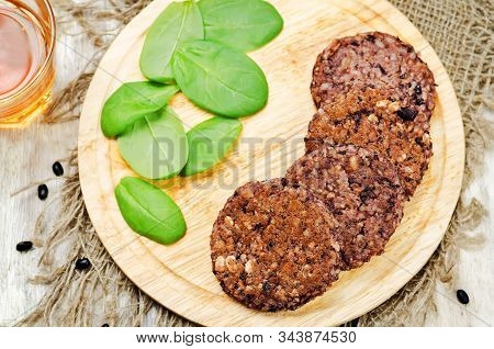Black Beans Brown Rice Walnut Oat Burgers With Spinach