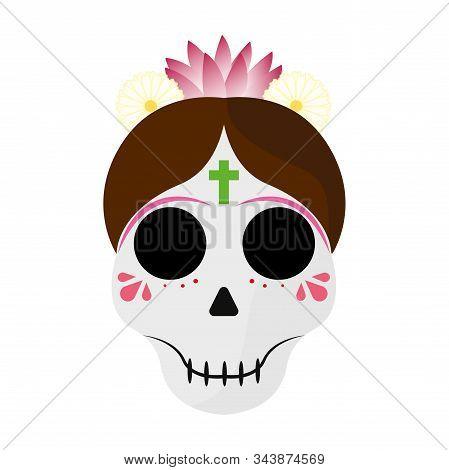 Catrina Image. Mexican Culture. Dia De Los Muertos - Vector Illustration Design