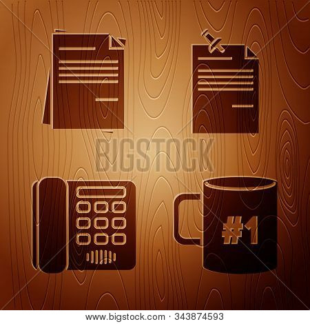 Set Coffee Cup Flat, File Document, Telephone And Note Paper With Pinned Pushbutton On Wooden Backgr