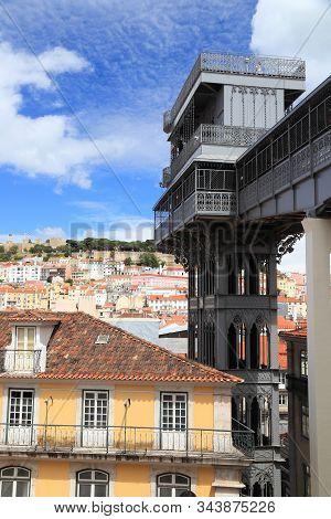 Lisbon City In Portugal. Santa Justa Elevator.
